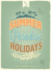 Vintage Summer Holidays Vector Background With Typography