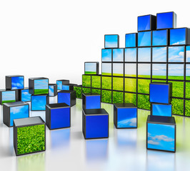 Cubes with landscape image on white background