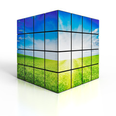 Cube with nature landscape on white background
