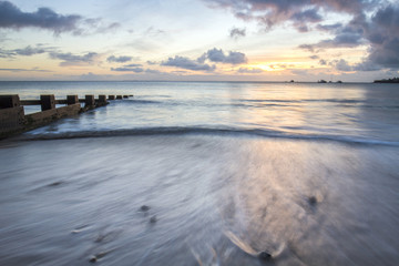 Seascape sunrise in Swanage bay