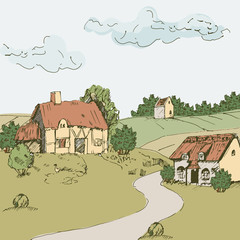Vector landscape with houses, castle, fields and hills.
