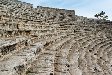 Steps of the ancient amphi theatre at Pamukkale, Turkey