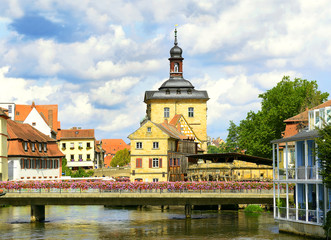 Regnitz River waterfront in Bamberg, Germany, UNESCO WH