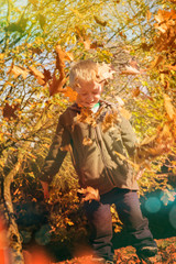 Kind spielt mit Laubblätter