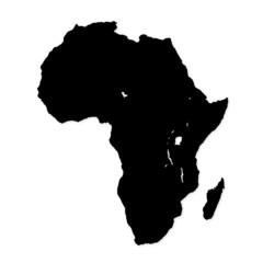 Black image of modern Africa map