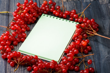 Notebook for recipes with a viburnum