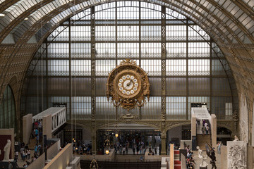 Golden clock of the museum D'Orsay in Paris, France