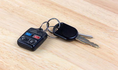 Car keys on wood countertop