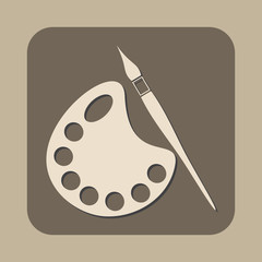 paintbrush with pallete vector icon