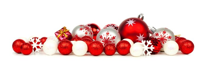 Christmas border of red and white ornaments