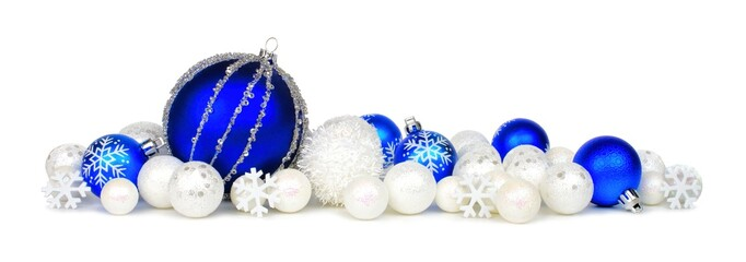 Christmas border of blue and white ornaments