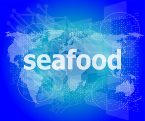 seafood word on a virtual digital background