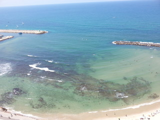 Transparent sea in a sunny day. Tel Aviv, Israel.