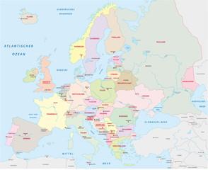 Europakarte in deutscher Sprache