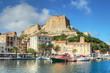 canvas print picture - The Port de Plaisance of Bonifacio, Corsica, France
