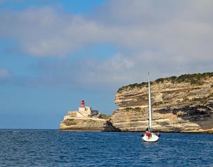 Lighthouse at the harbor entrance of Bonifacio, Corsica, France