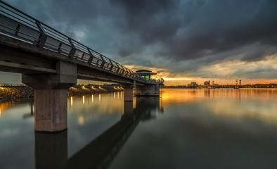 Putrajaya Dam in a nice golden cloudy sunset