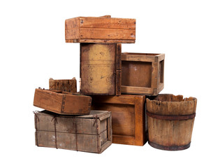 Wooden buckets and crates