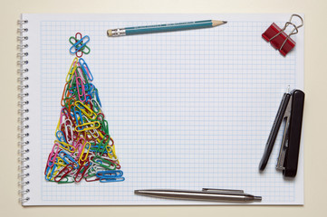 Christmas greeting card made of stationery