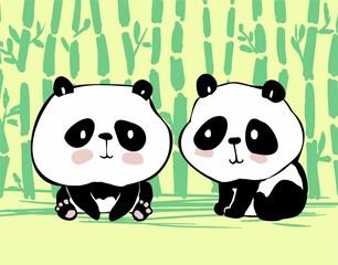 illustration with panda