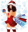Santa girl with xmas gift and shopping bags, vector