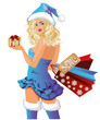 Santa girl shopping bags, vector illustration