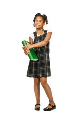 smart girl with big green book is standing on a white background