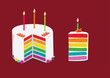 rainbow cake decorated with birthday candles. illustration - 72695623