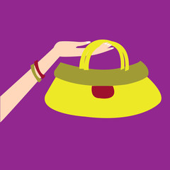 hand holding cute handbag. concept vector illustration