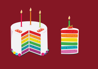 rainbow cake decorated with birthday candles. illustration
