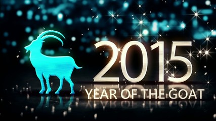 Year of The Goat 2015 Blue Night Beautiful Bokeh Loop Animation