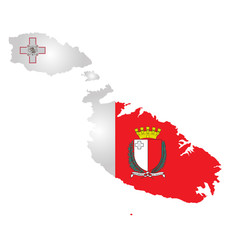 Flag and coat of arms of the Republic of Malta