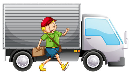 A mailman and a delivery truck