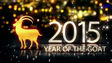 Year of The Goat 2015 Yellow Night Bokeh Loop Animation