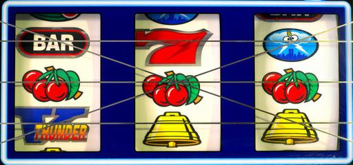Slot Machine with winning cherries.
