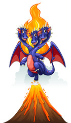 Dragons and volcano