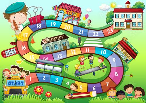 School theme board game - 72699262