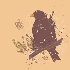 Bird with Flowers