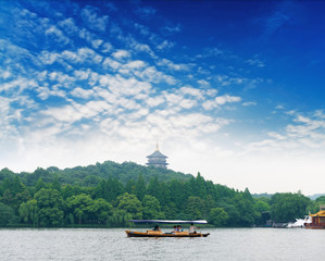 View on the enchanting West Lake, Hangzhou, China