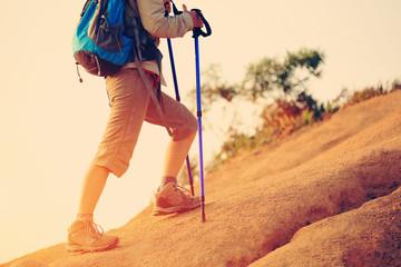 woman hiker walking on mountain