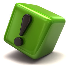Black exclamation sign on green cube