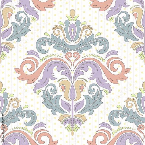 Damask Seamless Vector Pattern. Orient Background - 72700297