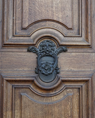 Lion head knocker and wooden door detail