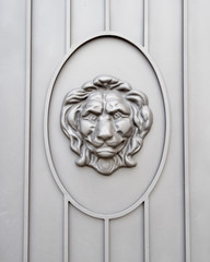 Lion head door decoration close-up