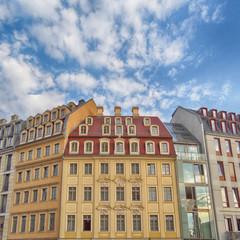 Vintage house facades on Neumarkt Square, Dresden Germany