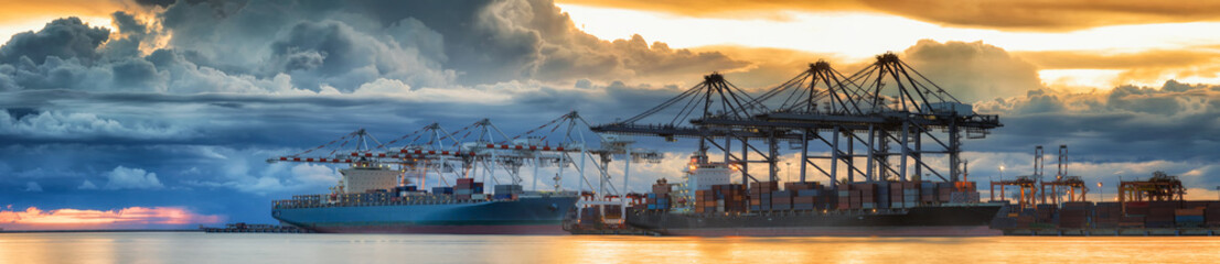 Container Cargo freight ship with working crane loading bridge i