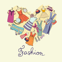 Vector stylized heart with dresses and accessories