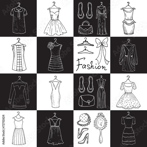 Vector pattern with dresses and accessories - 72702624