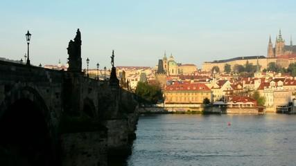 Charles bridge - sunrise - city-Prague castle-Hradcany