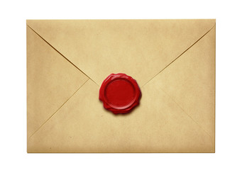 Old mail envelope with wax seal isolated